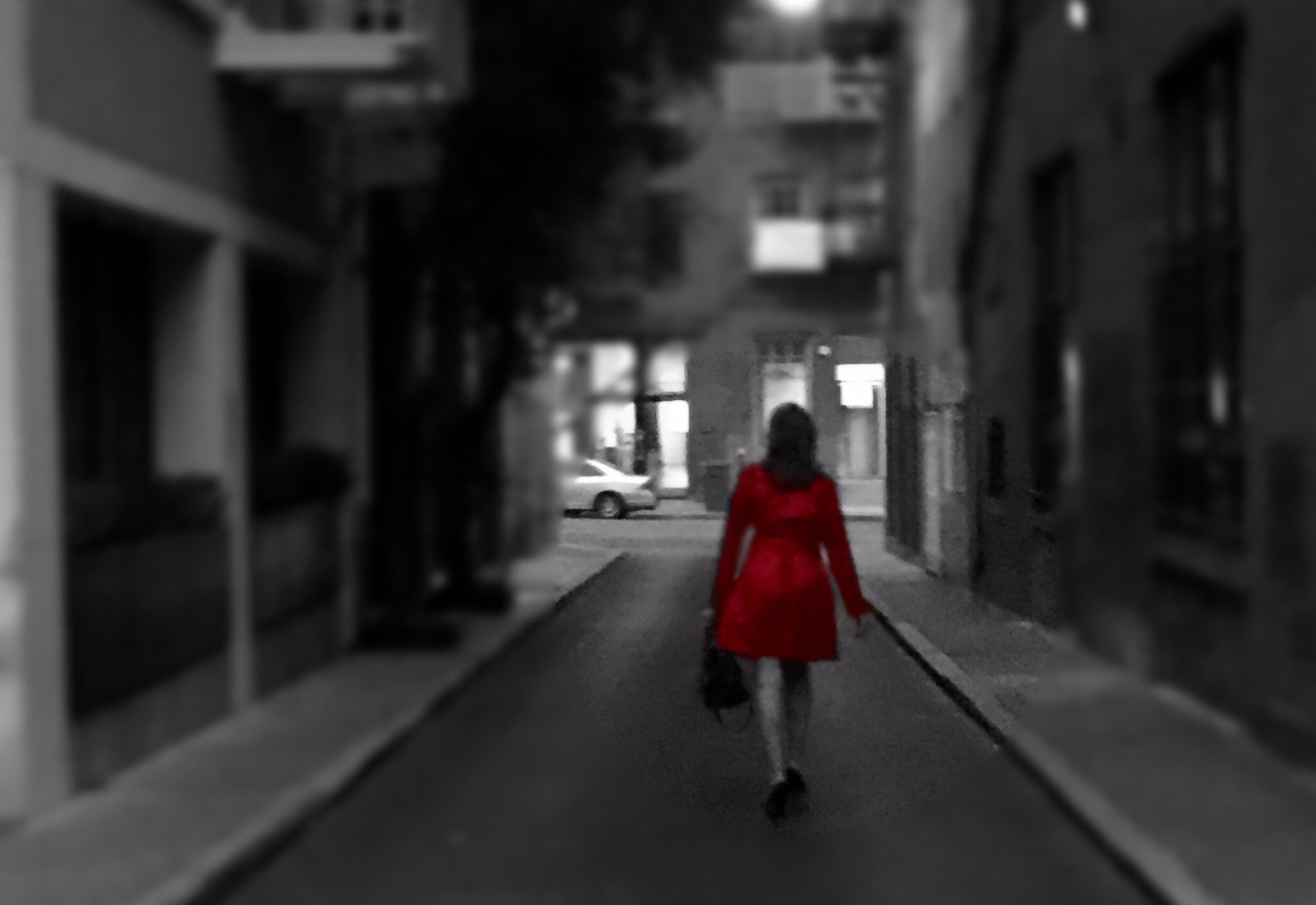 walking with red dress